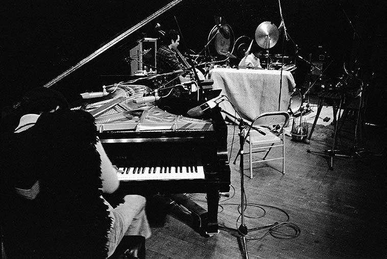 Soundcheck: Horace Tapscott Trio at Lobero Theater, Santa Barbara -- Son Ship (drums), Roberto Miranda (bass) -- November 12, 1981 -- photo by Mark Weber