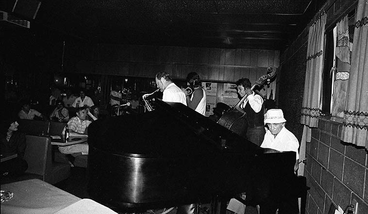 Don Menza Quintet way out on Rt. 66 in Cucamonga, California, about an hour east of Los Angeles on a Sunday afternoon gig -- June 14, 1981 -- Dick Berk (drums), Chuck Findley (trumpet, flugel, cornet), Frank DeLaRosa (bass), Don Menza (tenor & flute), Frank Strazzeri (piano) -- photo by Mark Weber