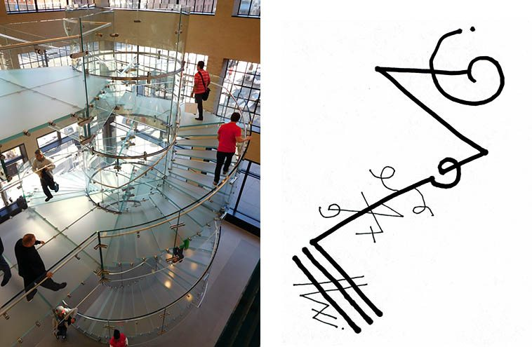 Glass staircase at Apple store Manhattan -- November 18, 2o16 -- photo by Mark Weber