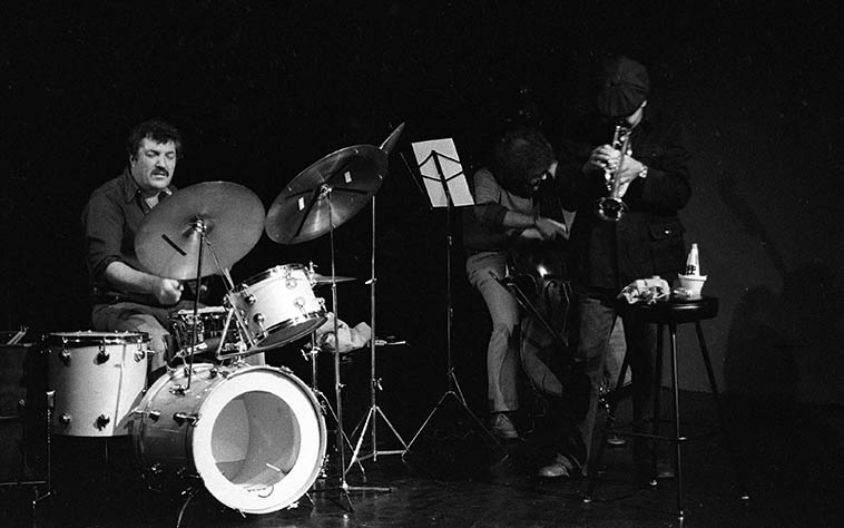 "Bobby Bradford Mo'tet (trio)( BB has always maintained that ""Mo"" means the more money available then the more tet you get) -- October 21, 1979 (my 26th birthday coincidentally) at Century City Playhouse, Los Angeles -- Bert Karl (drums, who is still in the mix out in L.A.) and the late Noah Young (aka Richard Youngstein and was on the downtown scene in NY certainly between 1967-1973 as he made records with Roswell Rudd, Carla Bley, Paul Bley, Bobby Naughton those years -- Not sure when exactly he relocated to L.A.) -- photo by Mark Weber"