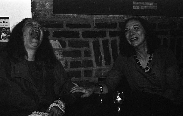 I forgot what was so funny, but Connie is enjoying herself -- Connie Crothers & Andrea Wolper -- May 8, 2015 Brooklyn -- photo by Mark Weber ------- Andrea is bringing a group into the Outpost Performance Space on July 7 (2o17) that includes the magnificent Ken Filiano on bass ---- Andrea has been a guest on the Thursday jazz show at least twice, maybe more . . . . . . a little bird told me that John Rangel will be playing piano on the date