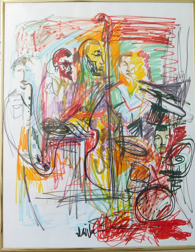 "Scott Virtue used to do drawings during concerts at the Outpost Performance Space -- This one has been on our walls here at 725 since November 2, 1998 when he did it ----- The Dave Holland Quintet: Steve Nelson, Chris Potter, Marvin Smitty Smith, Robin Eubanks -- 22""x28"" on paper -----collection of Mark Weber"