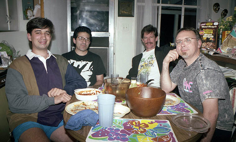 The Michael Vlatkovich Quartet on tour sit down for one of Janet's meals -- May 7, 1992 -- photo by Mark Weber ------ Left to Right: Anders Swanson(bass), Chris Garcia(drums), Bill Plake(tenor), Michael(trombone) ---- What a great band