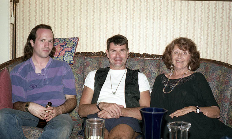 Three poets: Michael Hathaway (publisher of CHIRON literary magazine out of St Johns, Kansas), Clifton Snider, and the late dearly departed Catherine Lynn (we once published a book together) ---- at a PEARL magazine publishing party at Marilyn Johnson's house in Long Beach, California -- September 18, 1993 -- I haven't seen Clifton Snyder since that day, so it will be fun to reconnect as he's visiting New Mexico and will read his Beatle poems on the show August 17 and I'll play jazz renditions of Beatle songs -- photo by Mark Weber ---- I think of Clifton as part of the English Dept faculty at Cal State University Long Beach during the years it included Gerald Locklin, Marilyn Johnson, Ray Zepeda, Charles Stetler, Charles Webb, Elliott Fried, a killer's row of West Coast Literary Masters ---- I first became acquainted with Clifton's poetry through PEARL magazine