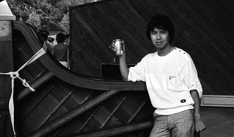Makoto Ozone and his refreshment after the gig at Cleveland Zoo, Cleveland, Ohio, with the Gary Burton Quartet -- August 17, 1986 -- photo by Mark Weber