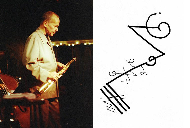 Steve Lacy -- November 2, 1997 Albuquerque -- photo & line drawing by Mark Weber
