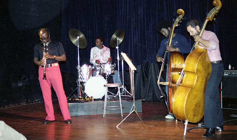John Carter Ensemble -- May 1, 1977 Century City Playhouse, Los Angeles -- John(clarinet), William Jeffrey(drums), Stanley Carter & Roberto Miranda(basses) -- photo by Mark Weber ----- Released this month on Dark Tree Records a 1979 concert at CCP with the Vinny Golia Wind Quartet (John Carter, Bobby Bradford, Glenn Ferris)