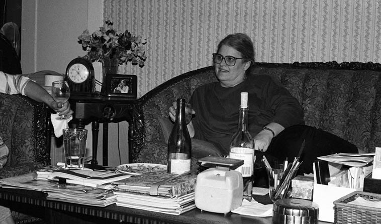 The late, dearly departed editor & publisher of PEARL literary magazine Marilyn Johnson at her place on East 2nd Street in Long Beach -- April 18, 1995 -- photo by Mark Weber