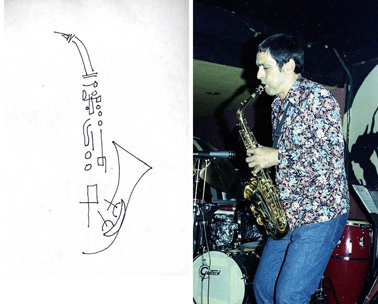 Art Pepper -- April 27, 1977 at Donte's -- photo & line drawing by Mark Weber