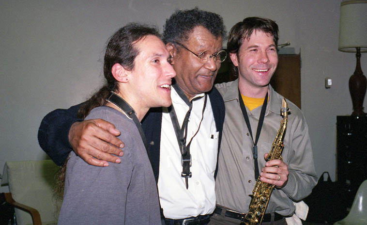 Alan Lechusza, Anthony Braxton, Chris Jonas -- three saxophonists -- during Anthony's Composer Residency at University of New Mexico -- April 2, 2003 -- photo by Mark Weber