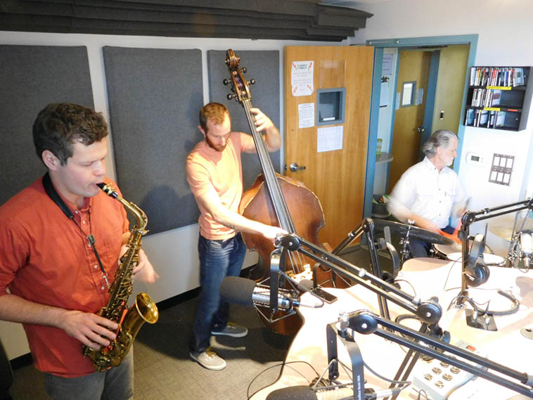More live music at KUNM ---------------- soon-to-be-legendary NY saxophonist Nick Lyons with local hotshots Colin Deuble(bass) and Cal Haines(drums) ----- December 29, 2o16 Live over the airwaves of New Mexico – photo by Mark Weber