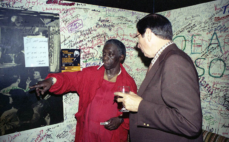 Art Blakey and Howard Rumsey backstage at Concerts By The Sea ---- January 17, 1980 – photo by Mark Weber