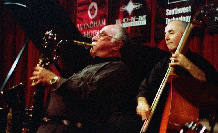 When Nick Brignola visited Albuquerque --- that's David Parlato on bass, Nick on baritone – September 13, 1999 – photo by Mark Weber
