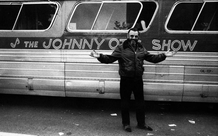 Johnny Otis Johnny Otis Johnny Otis! ----------- remember? That's how his radio show would begin, with the lady's voice drenched in reverb and then the real Johnny would come on mike for opening salutations, what a great disk jockey --------------- photo by Mark Weber --- September 29, 1985 Los Angeles