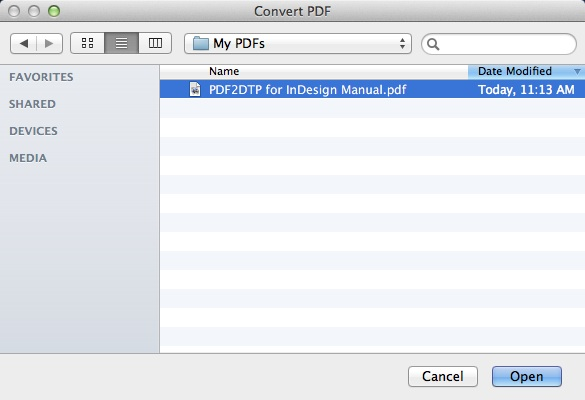 Markzware PDF2DTP for Adobe InDesign Locate PDF File