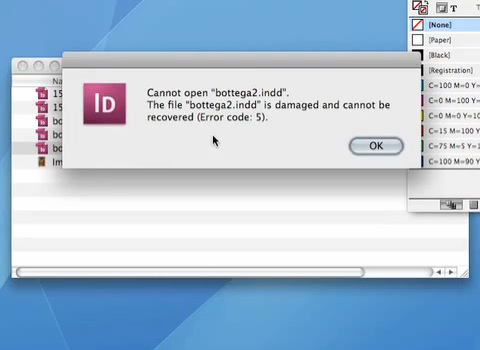 Code d'erreur Message 5? Récupérer des fichiers InDesign créés sur macOS via le service de récupération de fichiers DTP de Markzware