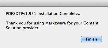 Markzware PDF2DTP for QuarkXPress Installation Complete