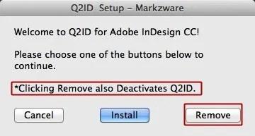 Markzware Q2ID for InDesign CC Mac Deactivation - Click Remove