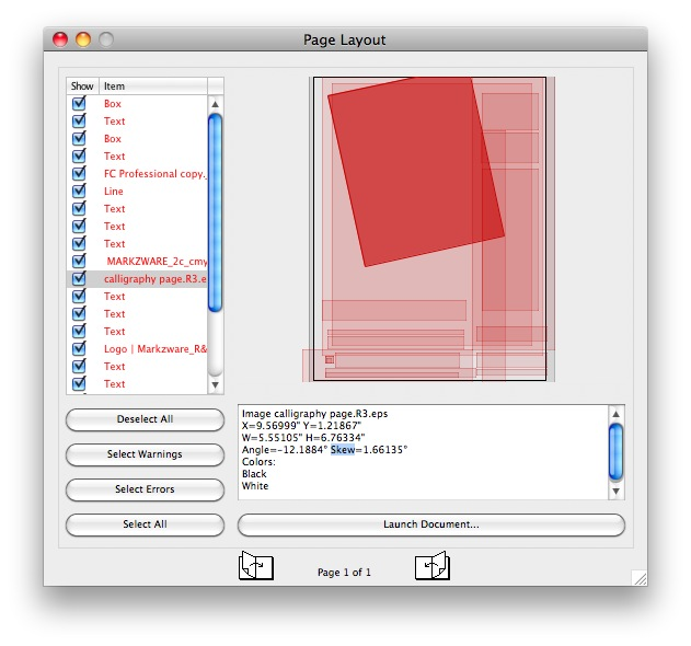 Preflight Adobe Page Layout via Checkpoints in Markzware's FlightCheck App, to Check Files for Print Quality