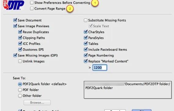 Markzware PDF2DTP for QuarkXPress General Preferences