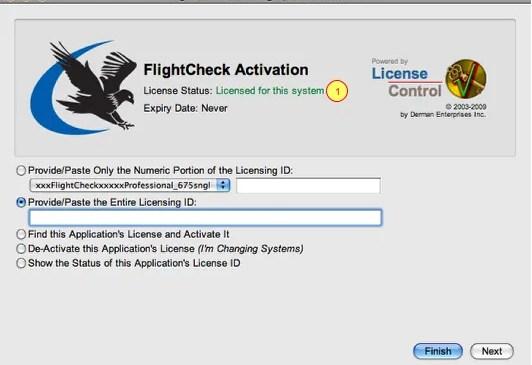 Markzware FlightCheck License Control Window