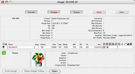 Ventana de visión general de imágenes en FlightCheck Aplicación de Mac para verificación previa de archivos de preimpresión en Photoshop CC 2015