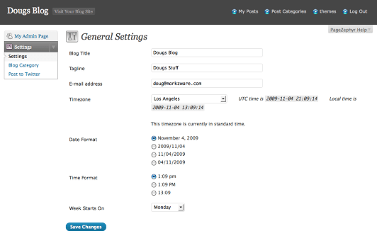 Markzware PageZephyr General Settings