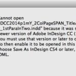 """アドビInDesignのエラー """"開くことができません」"""