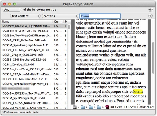 Markzware PageZephyr Search Mac Example 2
