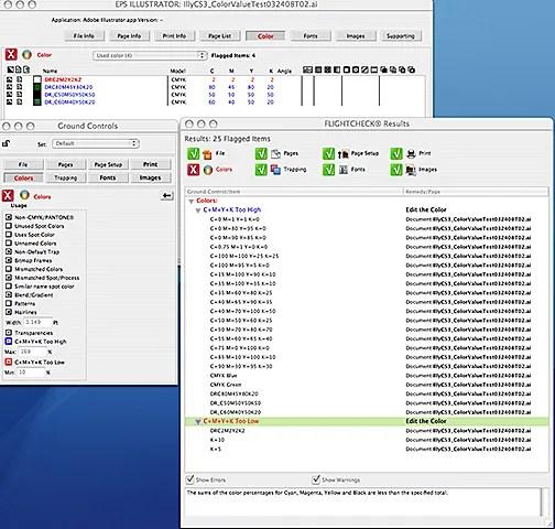 FlightCheck Mac App kann Dokumente auf Farbnutzungsfehler prüfen, bevor Sie im Web veröffentlichen