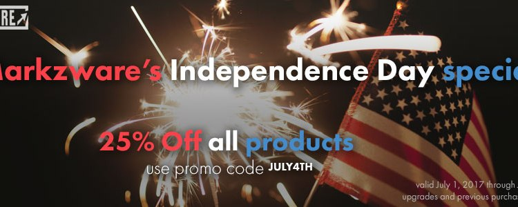 Markzware July 4th 2017 Independence Day Specials promo code JULY4TH