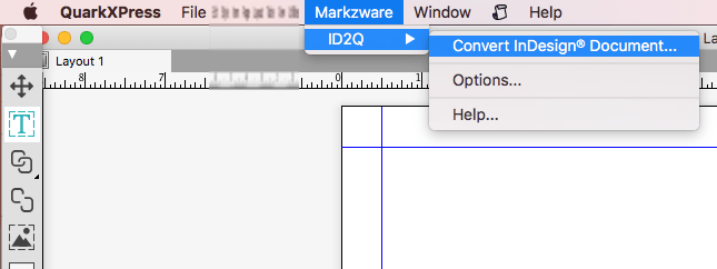 Menü in QuarkXPress 2018 XTension, Markzware ID2Q, für InDesign zu QuarkXPress 2018