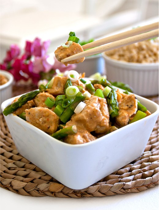 Chicken with Coconut-Lime Peanut Sauce | Recipe on MarlaMeridith.com