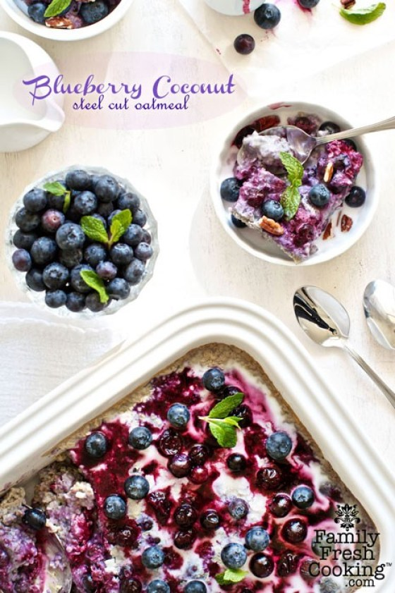 Baked Blueberry Coconut Steel Cut Oatmeal recipe on MarlaMeridith.com