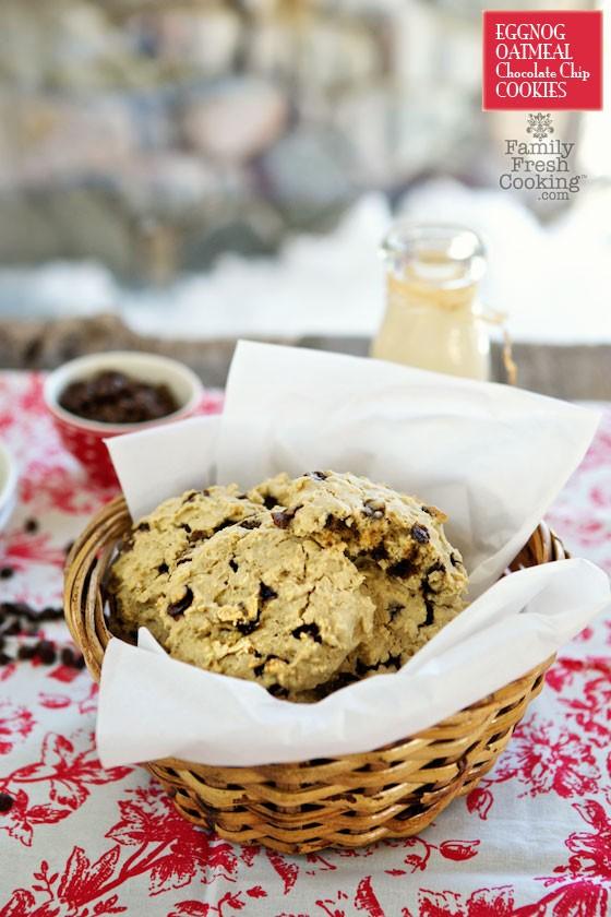 Eggnog Oatmeal Chocolate Chip Cookies | MarlaMeridith.com