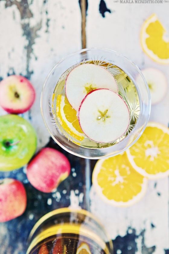 Try this refreshing Champagne Apple Punch recipe for New Year's Eve! MarlaMeridith.com