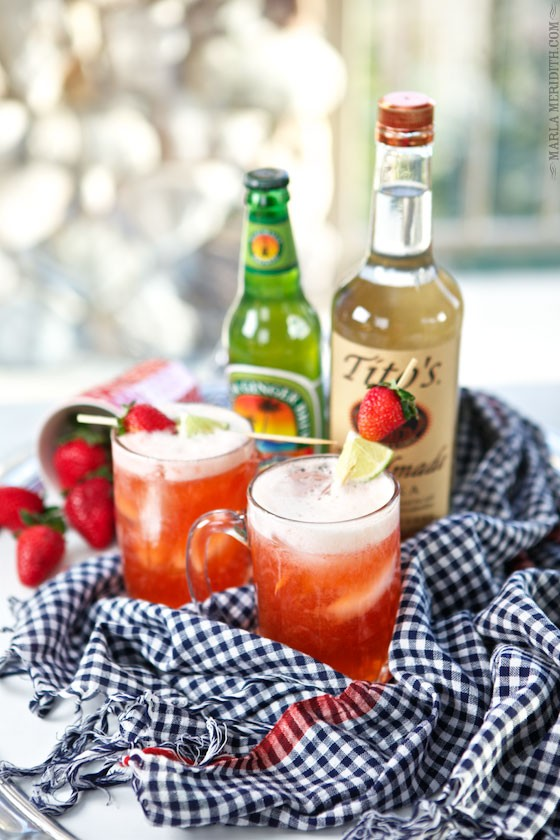 Cool sips for summer! Strawberry Moscow Mule Cocktail. Get the recipe on MarlaMeridith.com