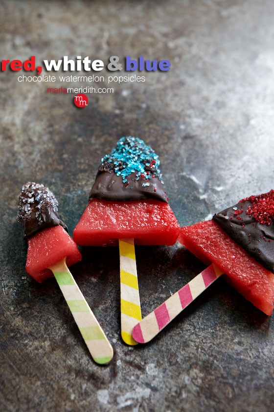 Chocolate Covered Watermelon Popsicles. great for the 4th! MarlaMeridith.com