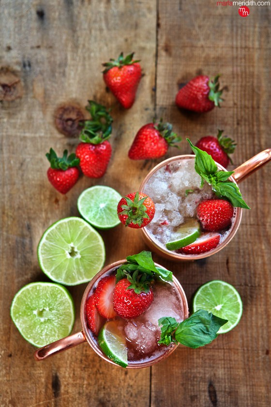 Strawberry Basil Moscow Mule recipe | MarlaMeridith.com