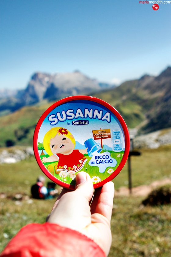 Susanna Cheese in the Italian Dolomites: my alpine snack. Isn't the packaging adorable!! MarlaMeridith.com ( @marlameridith )