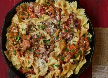 Bow Tie Pasta with Braised Pork, White Wine and Bacon