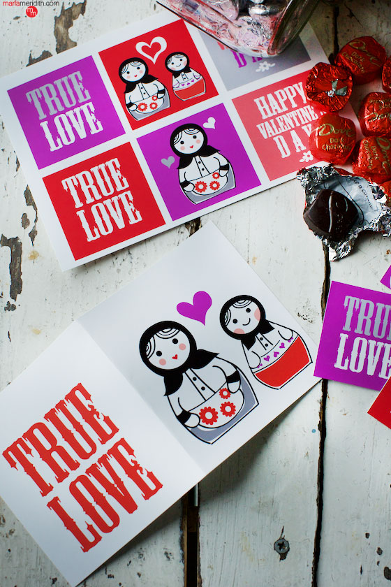 You're a Doll! DIY Valentine's Printables, surprise your loved ones! MarlaMeridith.com ( @marlameridith )