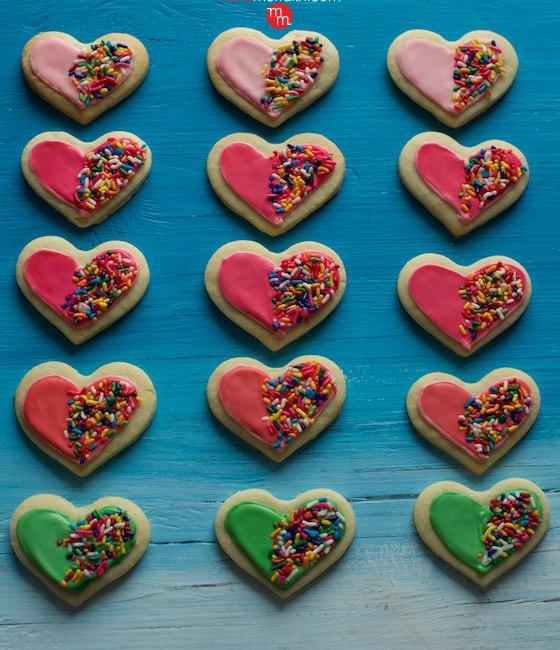 Confetti Heart Sugar Cookies recipe   MarlaMeridith.com