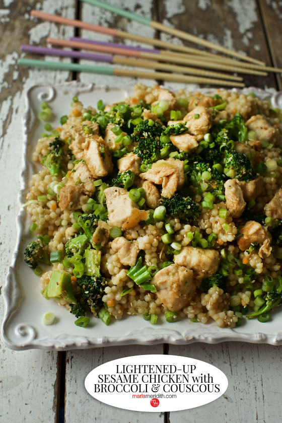No need for take out when you can quickly cook up this Lightened-Up Sesame Chicken recipe! MarlaMeridith.com