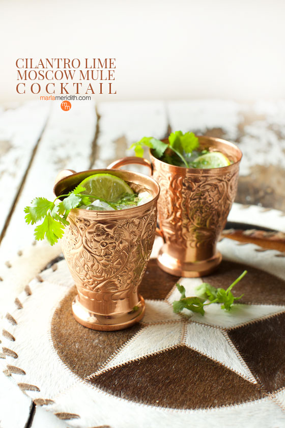We love this Cilantro Lime Moscow Mule cocktail for summer get togethers. Get the recipe on MarlaMeridith.com