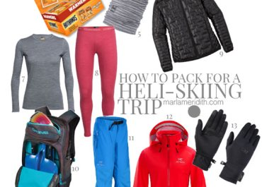 How to Pack for a Backcountry Heli-Skiing trip. All the essential gear! MarlaMeridith.com #ski #travel #adventure