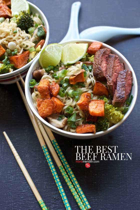 The Best Beef Ramen recipe that you will crave over & over again! MarlaMeridith.com #ramen #soup #recipe