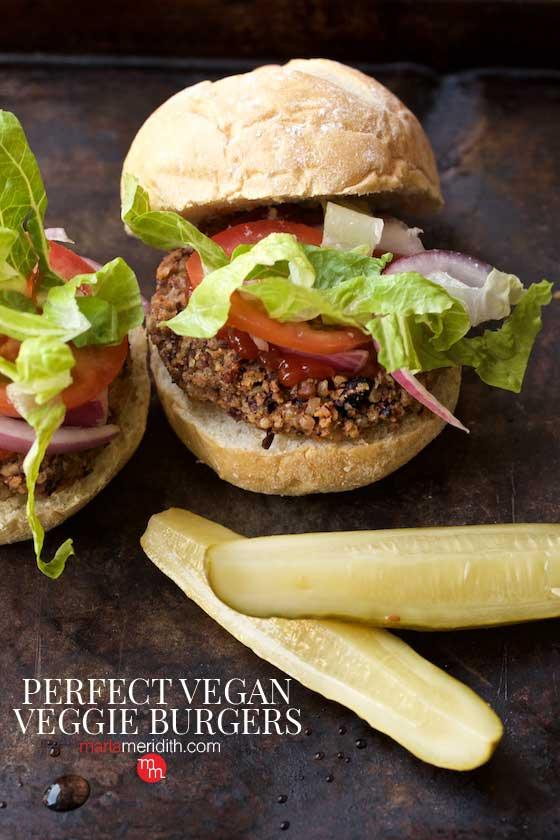 This Perfect Vegan Veggie Burgers recipe is so delcious & I promise you won't miss the meat! MarlaMeridith.com #recipe #meatlessmonday #vegan #burger
