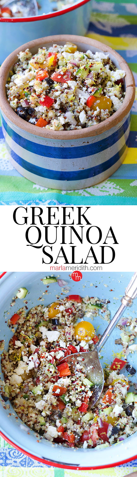 Serve this delicious Greek Quinoa Salad as a side or main. Add chickpeas, chicken, steak or salmon for a heartier entree. Get the recipe on MarlaMeridith.com