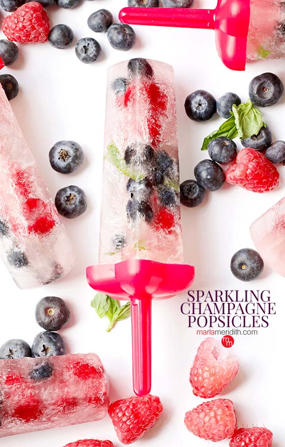 These Sparkling Champagne Popsicles will the a hit at any party or celebration. Get the recipe on MarlaMeridith.com